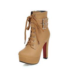 De mujer PU Tacón ancho Salón Plataforma Botas con Hebilla Cremallera Cordones zapatos