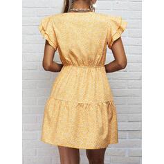Impresión tapa manga Vestido línea A Sobre la Rodilla Casual Patinador Vestidos