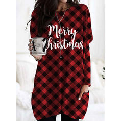 Print Grid Figure Pockets Round Neck Long Sleeves Christmas Sweatshirt
