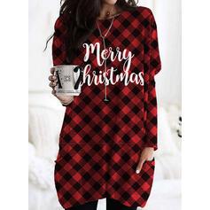 Print Grid Figur Lommer rund hals Lange ærmer Jule sweatshirt