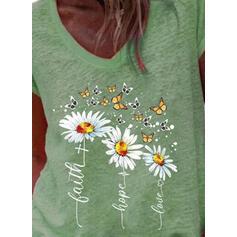 Nadruk Zwierzęcy Kwiatowy Wytłaczany Dekolt w kształcie litery V Krótkie rękawy T-shirty
