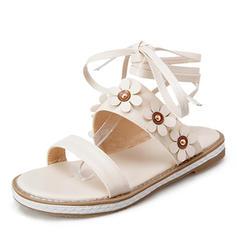Femmes Similicuir Talon bas Sandales Chaussures plates À bout ouvert avec Dentelle chaussures
