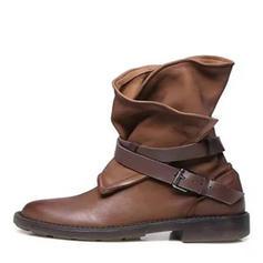 Femmes Similicuir Talon bas Bout fermé Bottes Bottes mi-mollets Martin bottes Bottes cavalières avec Boucle chaussures