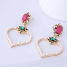 En forme de coeur Alliage Strass De faux pearl avec Perle d'imitation Strass Femmes Boucles d'oreille de mode (Lot de 2)