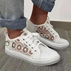 Bayanlar PU Düz topuk Flats Düşük Üst Yuvarlak ayak espadrille Ile Dikiş dantel Katı Renk ayakkabı