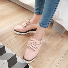 Women's PU Wedge Heel Closed Toe Wedges With Bowknot Tassel shoes