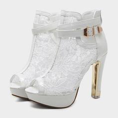 Kvinner PU Stiletto Hæl Pumps Lukket Tå Ankelstøvler med Spenne Hul ut sko