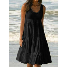 Solid Sleeveless A-line Knee Length Little Black/Casual/Vacation Skater Dresses