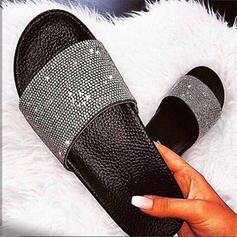 Vrouwen PU Flat Heel Slippers met Strass schoenen