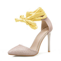Femmes Pailletes scintillantes Talon stiletto Sandales Escarpins avec Dentelle chaussures