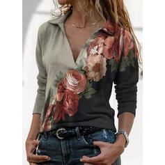 Print Bloemen Revers Lange Mouwen Casual Overhemd