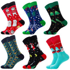Unisex Merry Christmas Snowman Reindeer Santa Cotton Stockings Christmas Socks