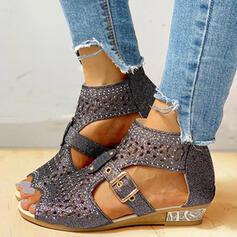 Frauen PU Niederiger Absatz Sandalen Flache Schuhe Peep Toe mit Strass Hohl-out Schuhe