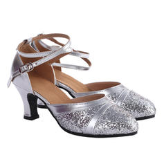 Women's Ballroom Heels Sandals Leatherette Sparkling Glitter With Hollow-out Latin