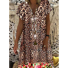 Print/Floral/Leopard Short Sleeves Shift Knee Length Casual Dresses