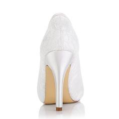 Women's Lace Satin Stiletto Heel Boots Dyeable Shoes