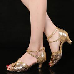 Vrouwen Latijn Sandalen Sprankelende Glitter met Enkelriempje Latijn