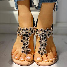 Women's PU Flat Heel Sandals Peep Toe With Rhinestone Flower shoes