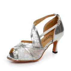 Women's Latin Sandals Pumps Leatherette Mesh Latin