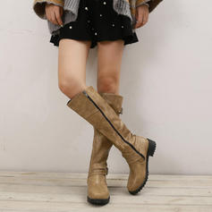 Women's PU Chunky Heel Boots Knee High Boots With Buckle shoes