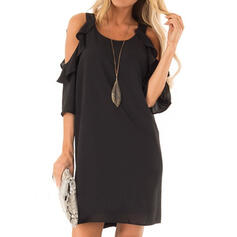 Solid 3/4 Sleeves/Cold Shoulder Sleeve Shift Above Knee Little Black/Casual Dresses