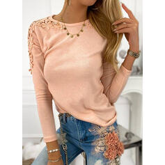 Solid Floral Lace Round Neck Long Sleeves Casual Blouses