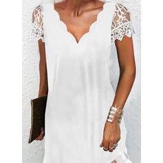 Solid Lace Short Sleeves Shift Above Knee Little Black/Elegant Dresses