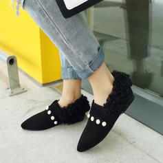 Kvinnor Mocka Flat Heel Platta Skor / Fritidsskor Stängt Toe med Oäkta Pearl skor