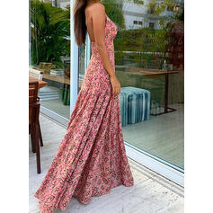 Print/Backless Sleeveless A-line Slip/Skater Sexy/Party/Vacation Maxi Dresses