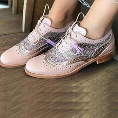 De mujer Cuero Tacón plano Planos con Cordones Material Block zapatos