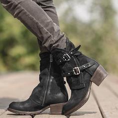 Femmes PU Talon bottier Escarpins Bottes Bottes mi-mollets avec Boucle Zip chaussures