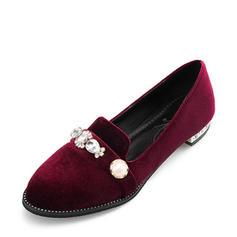 Femmes Suède Talon plat Chaussures plates Bout fermé avec Perle d'imitation chaussures