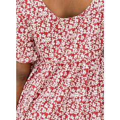 Impresión/Floral Mangas 1/2 Tendencia Hasta la Rodilla Casual Vestidos