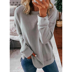 Solid Round Neck Long Sleeves Sweatshirt
