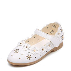 Fille de Bout fermé similicuir talon plat Chaussures plates Chaussures de fille de fleur avec Une fleur Ouvertes