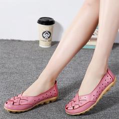 Vrouwen Echt leer Flat Heel Flats met Hol-out schoenen