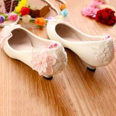 Frauen Kunstleder Niederiger Absatz Geschlossene Zehe Absatzschuhe mit Funkelnde Glitzer Blume Zuschnüren Kette