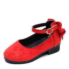 Muchacha Kunstleder Encaje Punta Cerrada Planos Zapatos de niña de las flores con Hebilla