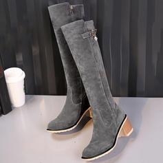Mulheres Camurça Salto robusto Botas Bota no joelho com Fivela Zíper sapatos