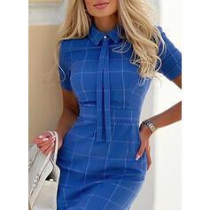 Plaid Short Sleeves Bodycon Above Knee Casual/Elegant Dresses