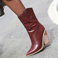 Women's PU Stiletto Heel Chunky Heel Boots Mid-Calf Boots With Others shoes