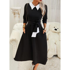 Color Block 1/2 Sleeves A-line Skater Elegant Midi Dresses