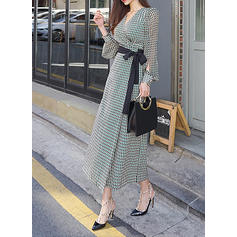 Print Long Sleeves/Split Sleeve A-line Maxi Casual Dresses