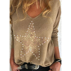 Beaded V-Neck Long Sleeves T-shirts