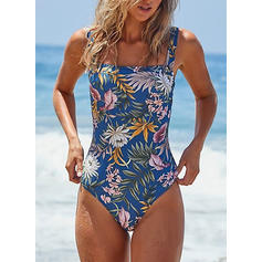 Floral Tropical Print Strap Bohemian One-piece Swimsuits