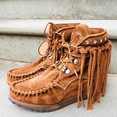 Frauen PU Flascher Absatz Stiefel mit Zuschnüren Quaste Schuhe
