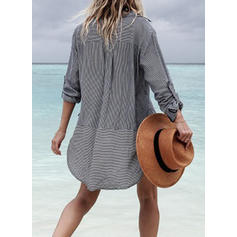 Striped V-neck Above Knee Shift Dress