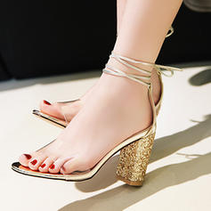 Women's PU Chunky Heel Sandals Pumps Peep Toe With Sequin Lace-up shoes