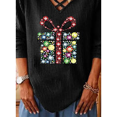 Print V-Neck Long Sleeves Casual Christmas Knit Blouses