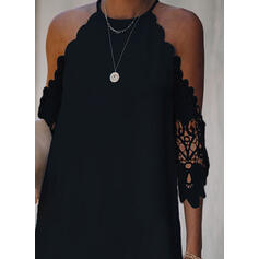Lace/Solid 3/4 Sleeves Shift Above Knee Little Black/Casual Tunic Dresses
